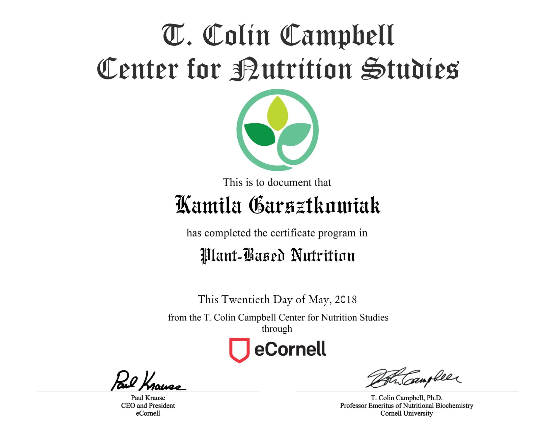 Chef Kamila Certificate 2